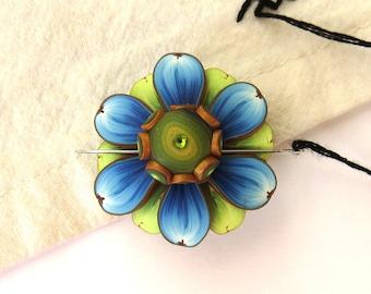 Blue Flower Needle Minder, Magnetic Needle Nanny Handcrafted from Claybykim