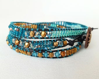 It's a Wrap - Teal, Copper and Antique Gold Beadwoven Bracelet