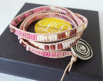 It's a Wrap - Rose, Mauve and Pearl White Beadwoven Bracelet
