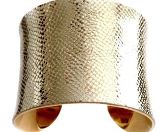 Metallic Champagne Gold Leather Gold Lined Cuff - by UNEARTHED