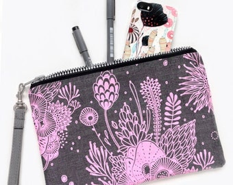 Pouch - gray linen zipper pouch screen printed with pink ink
