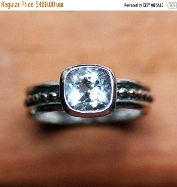 Aquamarine ring silver, aquamarine engagement ring, cushion cut engagement ring, oxidized silver ring, March birthstone ring, crush size 7