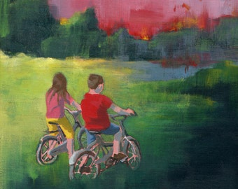 Getting Close - Original Acrylic Painting boy girl nursery couple in a landscape