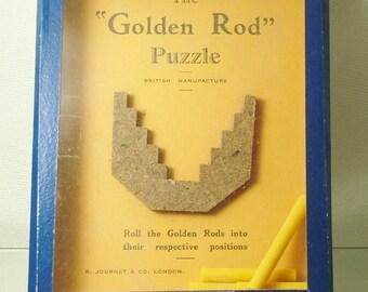 Vintage 1940s retro, pocket puzzle game - The Golden Rod Puzzle, R.Journet & Co. London