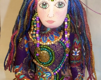 OOAK Deep Jewel Tones Goddess of the Nile BEADED fantasy Fabric art doll 14in. Free Standing