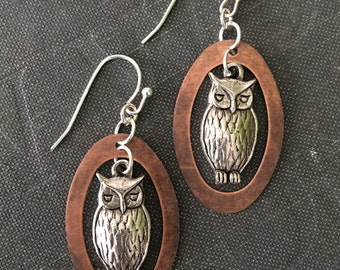 Rustic Mixed Metal Antiqued Silver Woodland Owl Charm Dangle Copper Oval Ring Earrings Jewelry