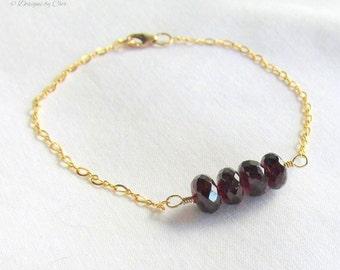 Gold Filled Garnet Bracelet, Rich Red India Garnets Gold Figure 8 Designer Link Chain, January Gemstone Jewelry