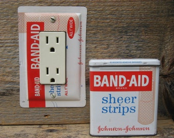 Bathroom Lighting Bath Decor GFCI Cover Rocker Switch Plate Antique Band Aid Bandages Tin For Unique Decorating GFC-3039