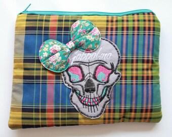 Skull Bow Tartan Makeup Bag Vanity Gobbolino
