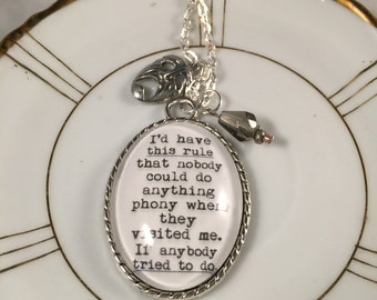J.D. Salinger, The Catcher in the Rye, J.D. Salinger Quote, The Catcher in the Rye Necklace, Quote Necklace, Charm Necklace, Literary Charm