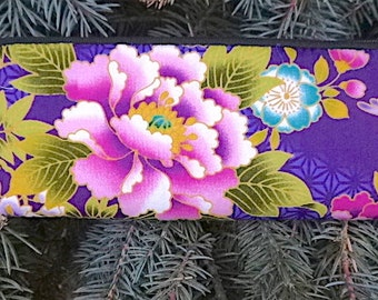 Japanese flowers padded zippered glasses case with d-ring, Peonies on Purple, The Spex