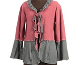 Gray and Brick Red Upcycled Cotton Cardigan Sweater