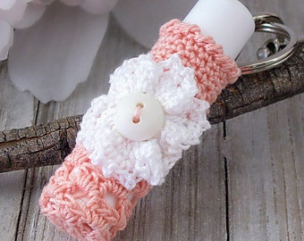 Cottage Chic Lip Balm Holder Keychain, Crochet Lace Lip Balm Cozy, Tangerine Orange, White Daisy Flower