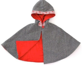 Baby Girls' Cape, Black & White Houndstooth Girls' Hooded Cape with Red Lining and Floral Trim, Girls' Capelet, Size 6 - 12 Months