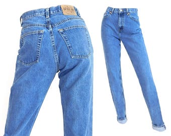 """Sz 6 L 90s GAP High Waisted Mom Jeans - Vintage Women's Slim Fit Tapered Tapered Leg Blue Jeans - 27"""" Waist"""