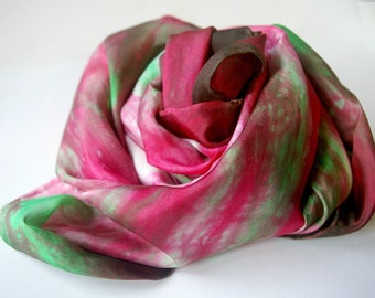 Holiday Play Silk : Peppermint Twist (35 inch Hand Dyed Natural Toy and Gift Wrap) READY TO SHIP