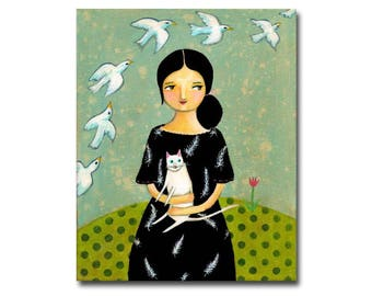 White Cat Painting Lady in Feather Dress White Doves flying ORIGINAL acrylic cat folk art painting by Tascha 10x8