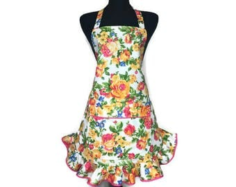 Rose Apron for women , Pink and Yellow Floral with Retro Style ruffle , Adjustable with pocket , Pin Up Girl Flower Kitchen Decor