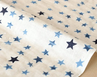 Japanese Fabric watercolor stars double gauze - indigo blue, cream - 50cm