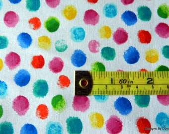 One Yard Cut Quilt Fabric, Finger Tip Dots, Bright Colors on a White Background from Hi-Fashion Fabrics, Sewing-Quilting-Craft Supplies