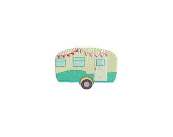 Machine Embroidery Retro Vintage Caravan Camper Embroidery File design 4 x 4 inch hoop 10cm x10cm