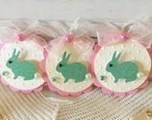 Spring Aqua Green Glitter Paper Easter Bunny Embellishment Tags setof 3