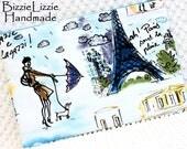 Large Clutch Bag, Paris Handbag Purse, Large Organizer Flat Zipper Pouch, Ladies Summer Bag, Retro Springtime in Paris Eiffel Tower Fabric