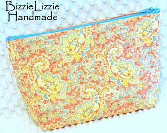 Large Handmade Paisley Pouch, Flat Bottom Make Up Bag, Poetry Fabric Accessory Pouch, Pink and Yellow Purse Organizer
