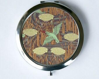 Art Nouveau Kingfisher Bird Floral Compact Mirror Pocket Mirror design Pattern