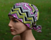 50% OFF CLEARANCE Surgical Scrub Hat Chemo Cap- The Mini with FABRIC Ties - Wild Berry Chevron