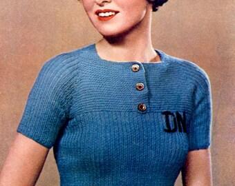 Vintage Knitting Pattern Ladies Jumper Short Sleeved 1935  Pdf