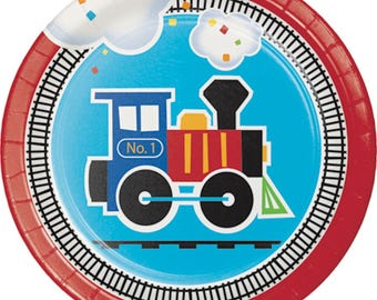 All Aboard Train Dessert/Appetizer Plates-Set of 8-NEW-7 in. round