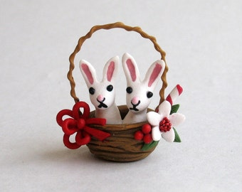 Miniature  Christmas Bunny Rabbits in a Basket by C. Rohal