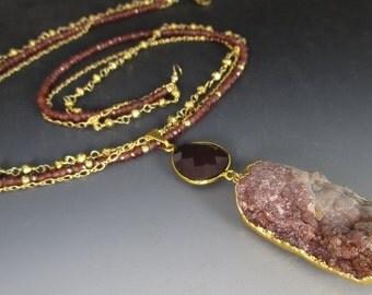 White Agate Druzy Garnet Gold Pyrite 14kt Gold Filled Necklace