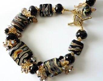 Lampwork Bracelet, Black, Rust, Copper, Topaz, Gold, Black Glass with Swirls, Lampwork Jewelry, Beaded Jewelry, Large Bracelet, OOAK