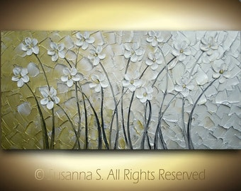 ORIGINAL Large Abstract Contemporary Fine Art Silver Gold White Daisies Flowers Palette Knife Impasto Landscape Painting by Susanna 48x24