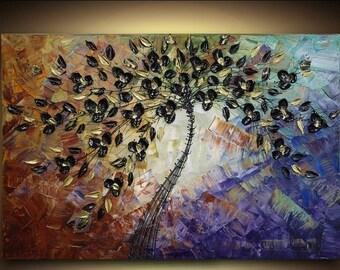 ORIGINAL Large Abstract Fine Art Black Flowers Tree Landscape Multi Colored Modern Palette Knife Impasto Painting by Susanna 36x24