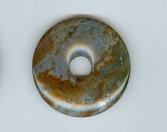 40mm Agate Pendant, 40mm Red and Gray India Agate Gemstone PI Donut Pendant Bead Focal 455T