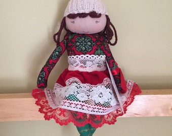NIKKA, a Christmas Kindness Elf from MiaLa Nordic Holiday Collection 2016. Dark red haired softie girl doll.