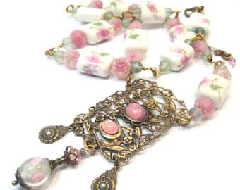 Pink Roses Set  ... Victorian Porcelain Bead, Sugar Givre Beads and Fluorite Gemstones One of  a Kind