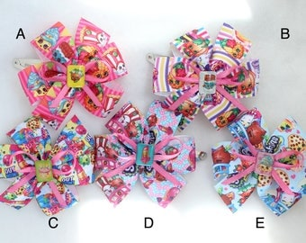 A Pair of Shopkins Hair Bows with Clips