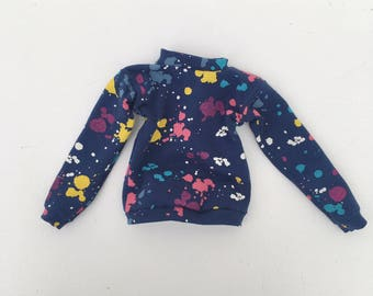sweater dark blue with paint splash print