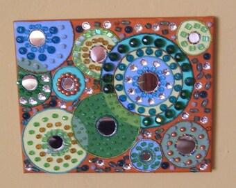 circles canvas mosaic beaded painting geometric wheels terra cotta green blue