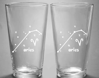 Aries Zodiac Constellation Pint Glass