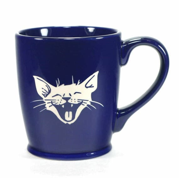 Laughing Cat Mug - happy kitty coffee cup - Choose Your Color
