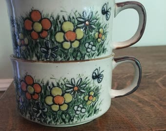 Vintage Stoneware Butterflies and Flowers Soup Mugs 1970s epsteam EUC Orange Yellow Green