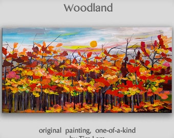 Original large Oil Painting canvas art Blue sky Fiery autumn Landscape Sunrise by tim lam 48x24