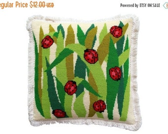 BIG SALE - Needlepoint Lady Bug Pillow Cover w/Fringe - Insert Not Included - Vintage Needle Point Red Green