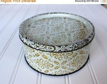 BIG SALE - Vintage Tin - Gold Design on White