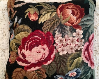 Vintage Needlepoint Pillow - Cabbage Roses - Flower Black Pink Accent Handmade Pillow - Cottage Style